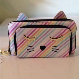 Betsey Johnson rainbow kitty clutch
